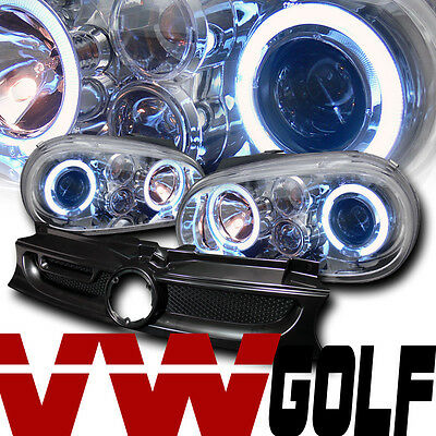 CHROME HALO PROJECTOR HEAD LIGHT+FRONT MESH GRILL GRILLE A 99-05 VW GOLF GTI MK4