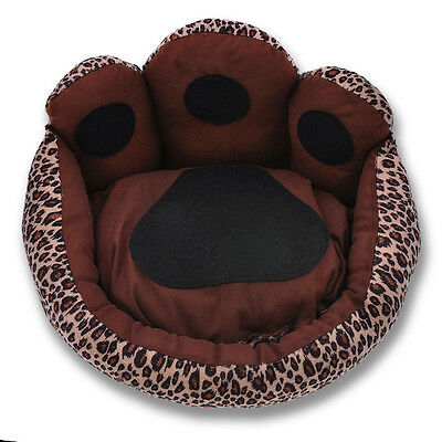 Footprint Leopard Pet Dog Cat Bed House Kennel Doggy Warm Cushion Basket S