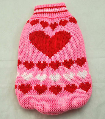 "1pcs 12"" Pet Puppy pink Clothes Knitted Jumper Sweater dog cat Apparel L  WT"