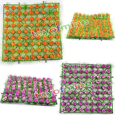 1pcs Artificial Fake Grass Rug Synthetic Rose Lawn Mat Turf Foliage Flowers Mat