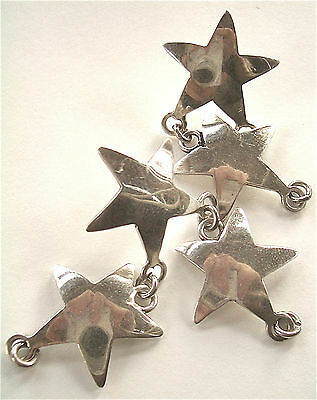 STERLING SILVER MEXICO Remnant Vintage Stars Post Earrings Dangle Salvage Estate