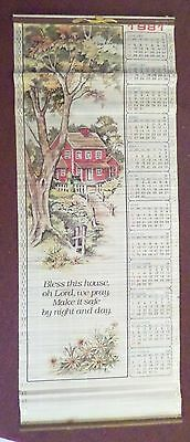 Vintage CMA Wood Slat  Bamboo Style 1981 Wall Hanging Calender w/Country Scene