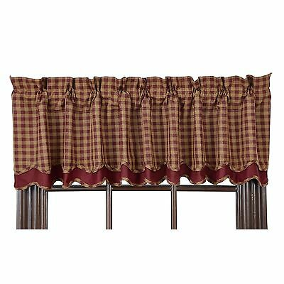 BURGUNDY CHECK LAYERED Scalloped Window Valance Rustic Primitive Khaki VHC 72""