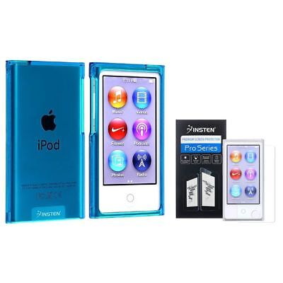 Clear Blue Slim Case+3x Diamond LCD Protector For iPod Nano 7 7G 7th Generation