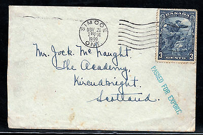 Canada 1939 cover passed for export cachet to Scotland