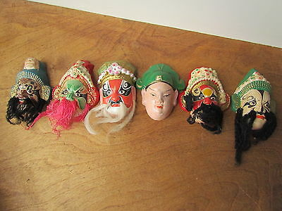 6 Vintage Asian Chinese Clay Bearded Masks Figures