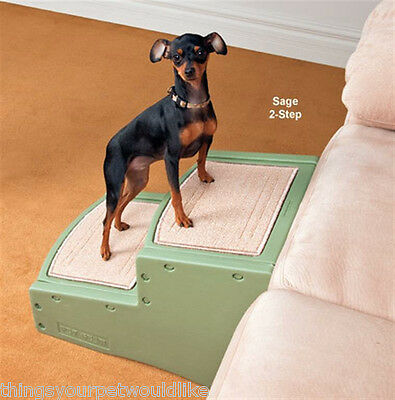 New Pet Steps Two Step Brown Carpeted  Plastic Dog Stairs Pet Gear 92407