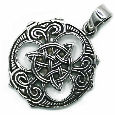 .925 Solid Sterling Silver Celtic Pagan Norse Wheel Triquetra Knot Pendant P058