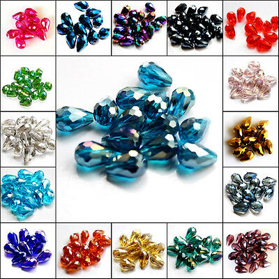 Wholesale lots 100pcs Faceted 8x12mm  glass Crystal Teardrop Loose Spacer Beads