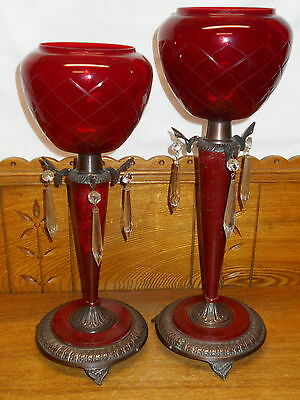 Pair Of Ruby Red Shade Prism Accent Garnitures