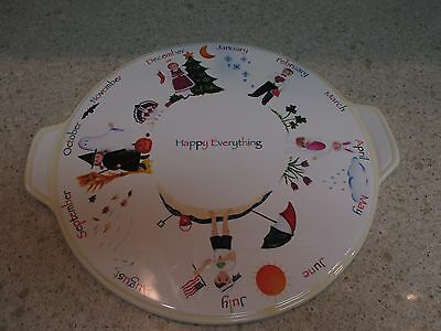 "Happy Everything Large Plate Platter For Every Holiday 13.5"" Cake Cupcake"