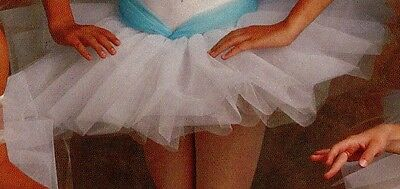 NWT 5 layer Nylon Net Barbed tutu White ch/Ladies Ballet Ballerina Stretch band