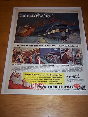 1946 Santa Claus Riding the New York Central      Magazine ad  advertisement