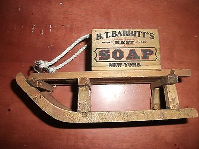 "Vintage B.T. Babbit""s Soap - Ornamental Sled - Wood"