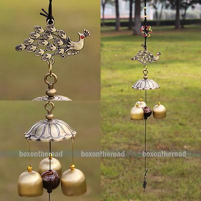 Amazing Antique Bronze Peafowl Windchime Chapel Church 3 Bells Wind Chimes