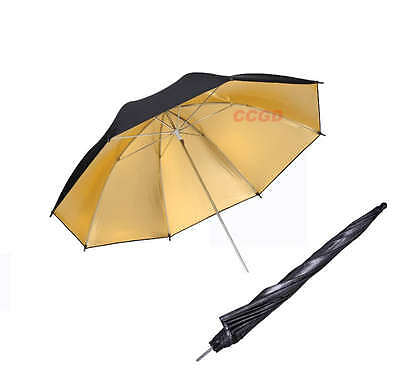 "33"" Gold/Black Reflector Umbrella Photo Flash Studio Reflector Soft Umbrella"