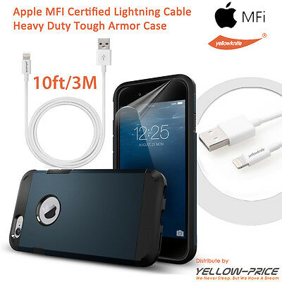 Genuine MFI 10FT/3M Lightning to USB Cable for iPhone 6 Plus w/Protect Case+Film