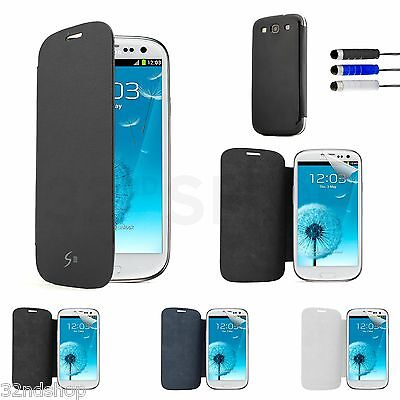 Slim Flip Case Cover For Samsung Galaxy Mobile Phones +Screen Protector & Stylus