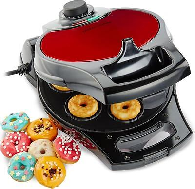 Andrew James Flip & Serve Doughnut Maker, 7 Hole Red Electric Donut Machine
