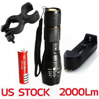 2000Lm CREET6 XM-L LED Flashlight Torch Adjustable+ Battery+Charger+Bicycle Clip