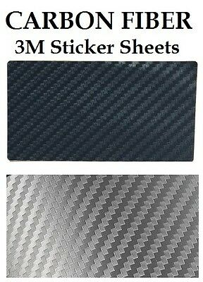 Carbon Fiber 98x52mm 3M Stickers * BLACK or SILVER * MOD