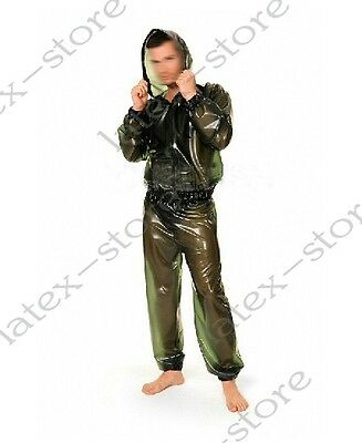 333 Latex Gummi Rubber Jogging Outfits suit hoody pants catsuit customized 0.4mm