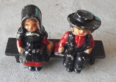 "Lot of 2 Antique Cast Iron Amish Boy and Girl on Bench Figurines 2 1/4"" Tall"