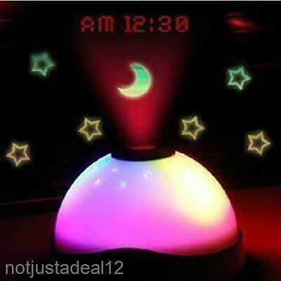 Cool Colorful Magic Starry Projection Light Xmas Bar Home Decor Lamp Alarm Clock