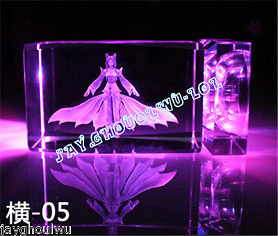 Free Lettering New LOL League of Legends Ahri 3D Crystal Figure Lights
