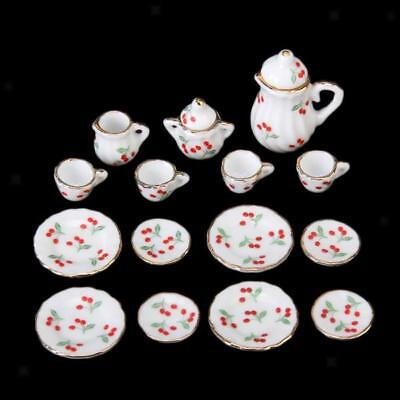 15pcs Doll House Deluxe Miniature China Coffee Tea Set Red Cherries 1/12 Scale