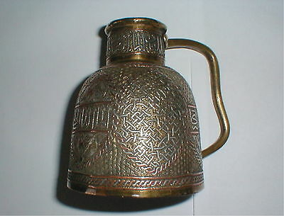 ANTIQUE ISLAMIC SILVER COPPER INLAY JUG DAMASCUS MIDDLE EAST signed circa 1880