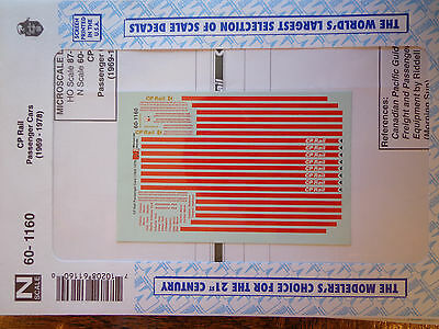 Microscale Decal N  #60-1160 Canadian Pacific (CP) Passenger Cars Dates: 1969-19