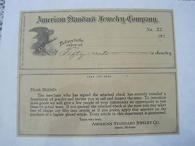 Check American Standard Jewelry Co 1922 w Attached Note Antique