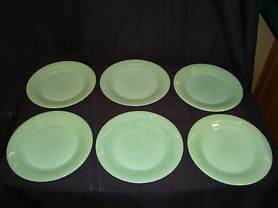 6 Fire King Jadeite Jadite Jane Ray Oven Ware Marked Dinne Plates Mint Condition