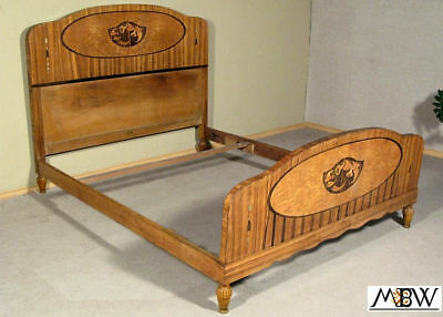 Antique French Inlaid Marquetry Art Deco Full Size Bed