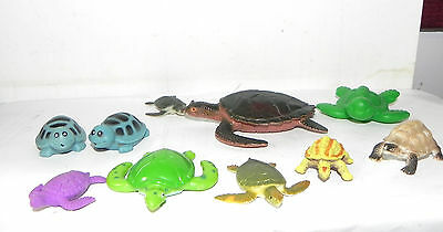 Estate Lot of 10 Hard Plastic, Rubber Turtles all Sizes and Colors LOOK