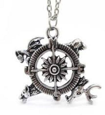 Hot sale Inspired LOGO Silver Tone Compass Charms Pendant Chain Necklace fo982