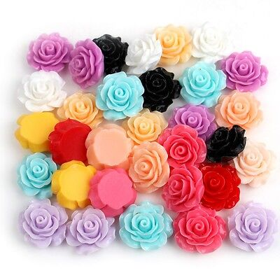 55Pcs Resin Rose Flowers Cabochons Cabochons Flat Back 18x9mm Cute Lovely Mix