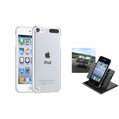 Clear Rear Crystal Hard Skin Cover+Car Dashboard Cradle For iPod Touch 5 5G 5th