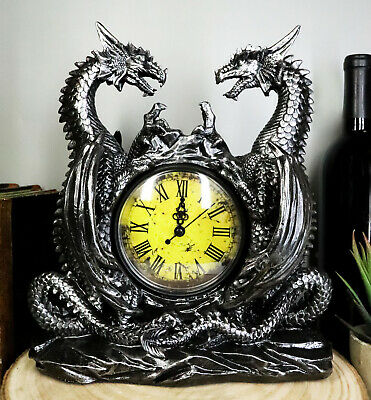 Gothic Double Dragon Table Clock Battery Operated Resin Desktop Accessory Office