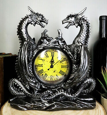 """Gothic Twin Dragons Table Clock Statue With Roman Numerals In Metallic Look 11""""H"""