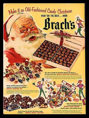 "Original 1952 ""brach's Chocolates"" Santa Claus Christmas Stocking Art Print Ad"