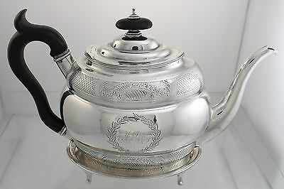 Tea Pot on Stand Sterling Silver Solomon Hougham London England c1799