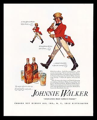 "Original 1936 ""johnnie Walker Scotch Whiskey""  Vintage Art Print Ad"