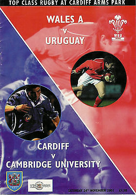 WALES A v URUGUAY 2001 RUGBY PROGRAMME