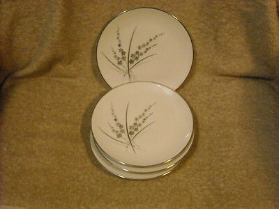 "set of (4) Marquise Fine China ""Fascination"" Bread Plates Made USA Platinum Trim"