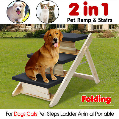Folding 2-in-1 Pet Ramp & Stairs for Dogs Cats Pet Steps Ladder Animal Portable~