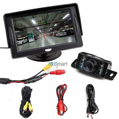 """4.3"""" LCD Monitor Car Reverse Rear View Back Up Camera Wired Kit Night Vision"""