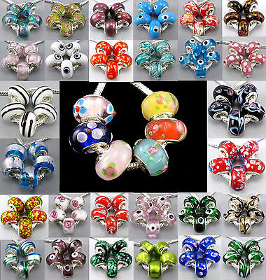 Wholesale Lot 5pcs Lampwork Murano Glass Beads Fit European Charms Bracelet