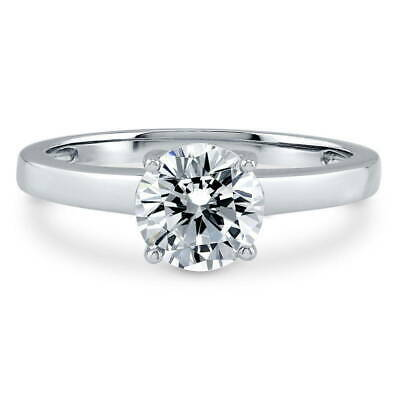 BERRICLE Sterling Silver Round Cut CZ Solitaire Engagement Ring 1.28 Carat
